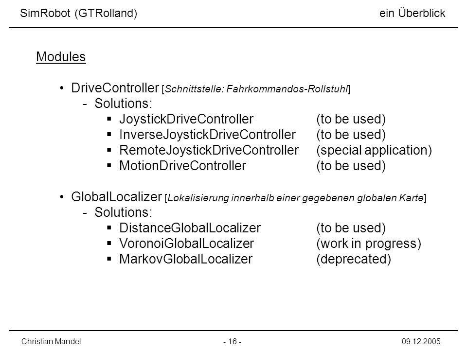 DriveController [Schnittstelle: Fahrkommandos-Rollstuhl] Solutions: